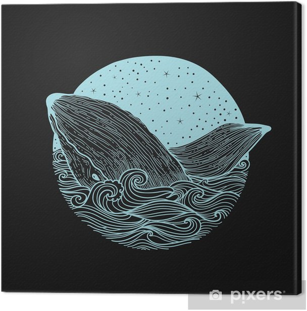 Whale jumping out of the waves on a night starry sky and curl waves background with doodle zentangle elements,design for clothing print, cards,invitations,printing cover.isolated on white background Canvas Print - Animals