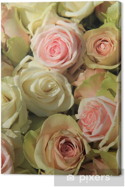 White and Pink roses in wedding arrangement Canvas Print - Celebrations
