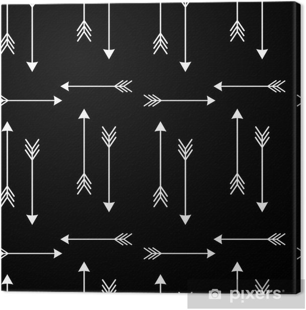 white arrows on black background seamless vector pattern illustration Canvas Print - Scandinavian