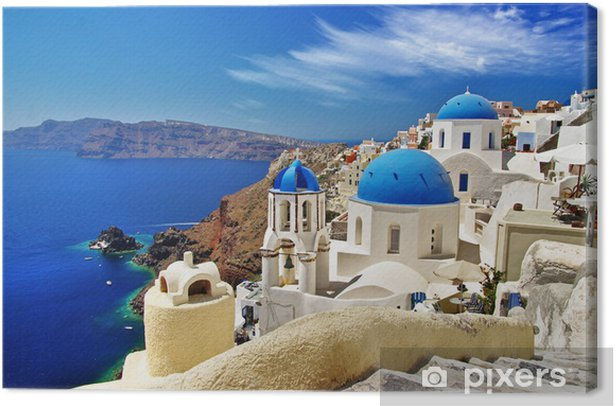 white-blue Santorini - view of caldera with domes Canvas Print - iStaging