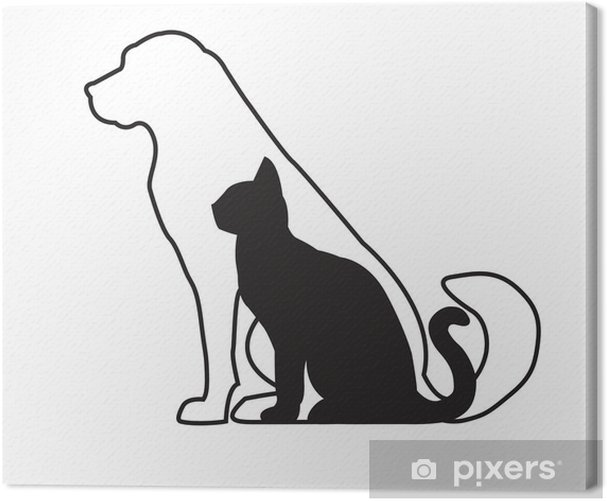 White dog and black cat isolated on white Canvas Print - Wall decals