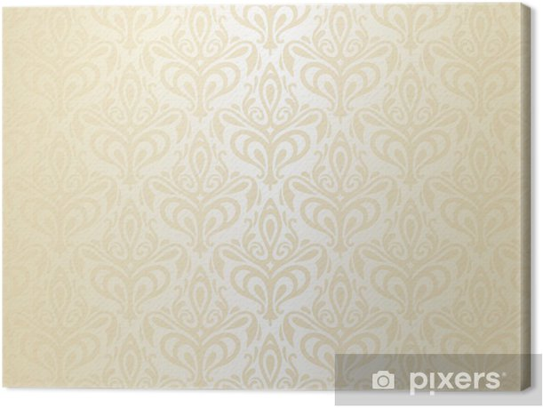 White Gold Vintage Wallpaper Canvas Print