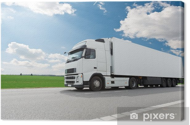 white lorry with trailer over blue sky Canvas Print - Heavy Industry
