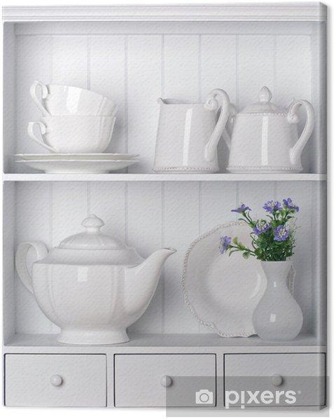 White shelf with vintage porcelain tableware Canvas Print - Themes