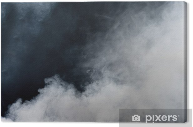 White smoke on black background. Isolated. Canvas Print - Themes