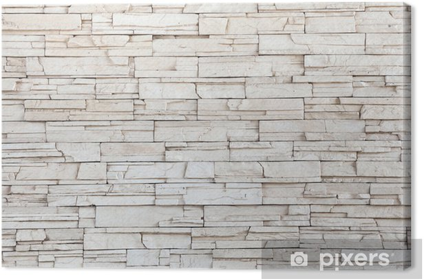 White Stone Tile Texture Brick Wall Canvas Print - Themes