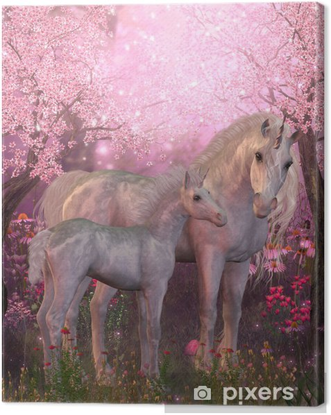 White Unicorn Mare and Foal Canvas Print - iStaging