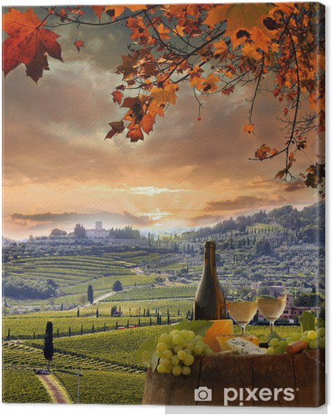 White wine with barell in vineyard, Chianti, Tuscany, Italy Canvas Print - Europe