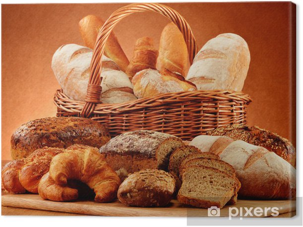 Wicker basket with variety of baking products Canvas Print - Themes
