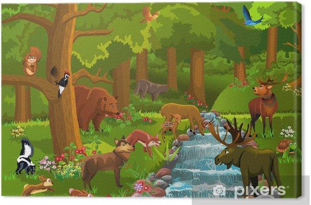 wild animals in the forest Canvas Print - Mammals