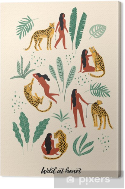Wild at heart. Vector illustrations of woman with leopard and tropical leaves. Canvas Print - Animals