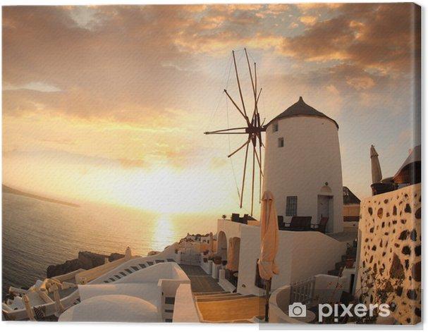 Windmill in Santorini against sunset, Greece Canvas Print - Mills and windmills