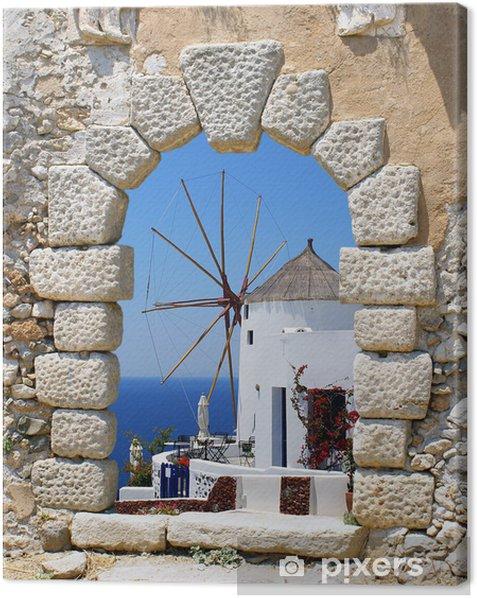 Windmill through an old Venetian window, Greece Canvas Print - Santorini