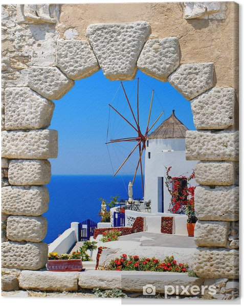 Windmill through an old window in Santorini island, Greece Canvas Print - Santorini