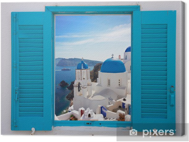 window with view of caldera and church, Santorini Canvas Print - Themes