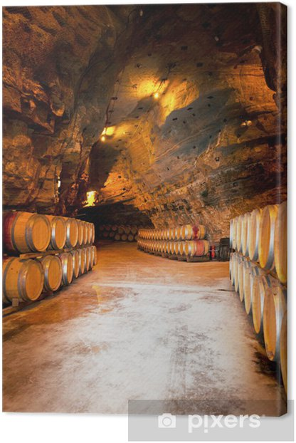 wine barrels in a winery, France Canvas Print - Wonders of Nature