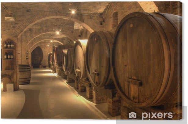 Wine cellar in Abbey of Monte Oliveto Maggiore Canvas Print - Other