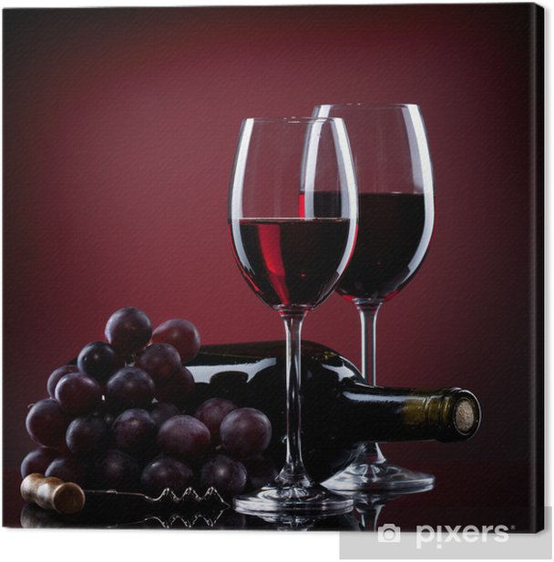 Wine in glasses with grape and bottle on red Canvas Print - Culinary