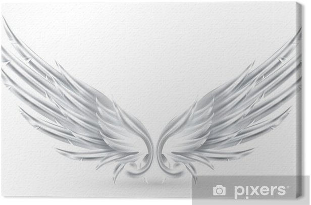 Wings White Canvas Print - Imaginary Animals