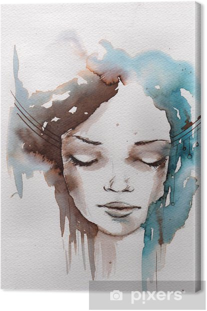 Winter, cold portrait Canvas Print -