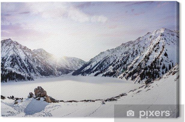 Winter Mountain Lake Canvas Print - Winter