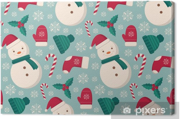 Winter objects seamless pattern. Canvas Print - Graphic Resources