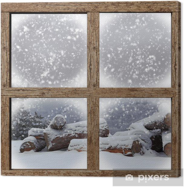 Winter outdoors view with firewood pile from wooden window Canvas Print - Themes