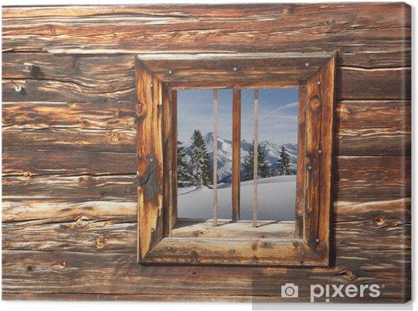 Winterlandschaft Im Holzfenster Canvas Print Pixers We Live To