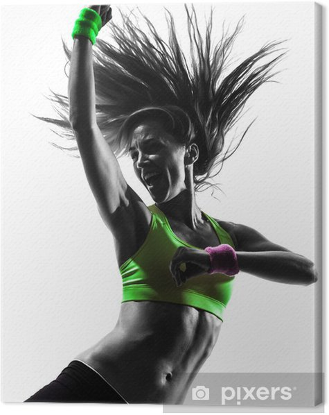 woman exercising fitness zumba dancing silhouette Canvas Print -