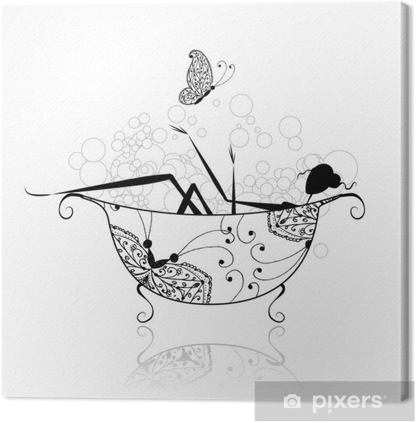Woman in bathroom with foam for your design Canvas Print - Wall decals