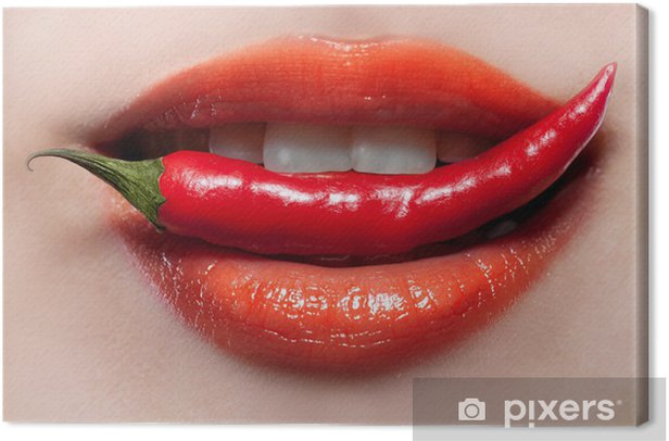 Woman lips and chili pepper Canvas Print - Themes