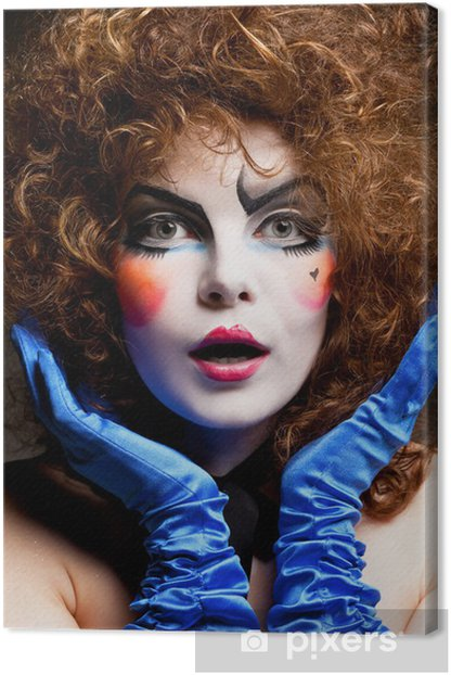 woman mime with theatrical makeup Canvas Print
