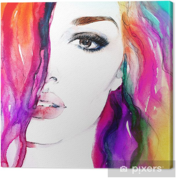 woman portrait .abstract watercolor .fashion background Canvas Print - Themes