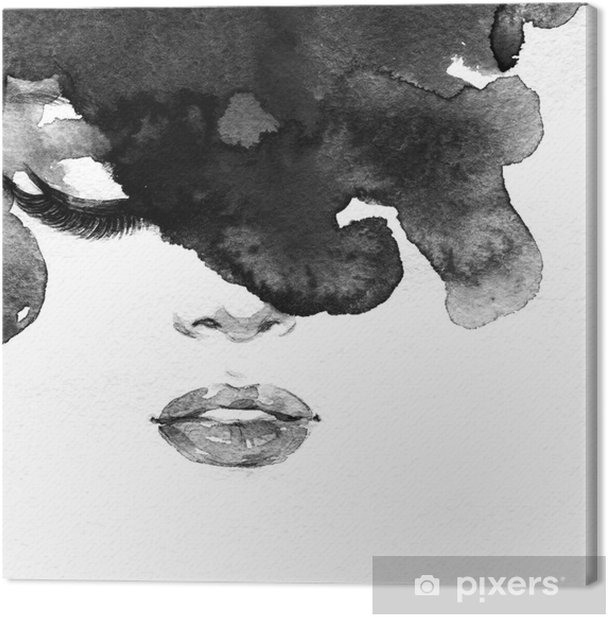 woman portrait .abstract watercolor .fashion background Canvas Print - Styles