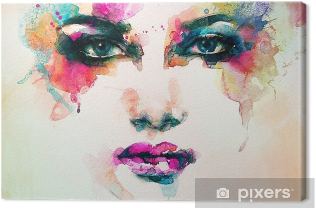 woman portrait .abstract watercolor .fashion background Canvas Print - People