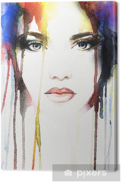 woman portrait .abstract watercolor Canvas Print - People