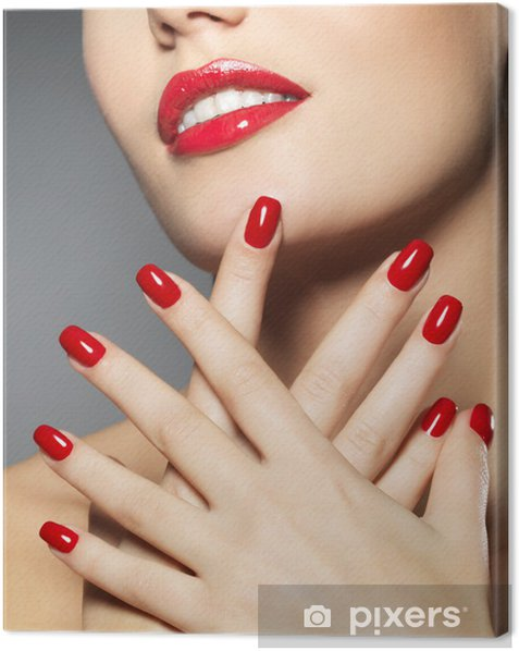 woman with fashion red nails and sensual lips Canvas Print - Themes
