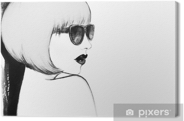 woman with glasses. watercolor illustration Canvas Print - People
