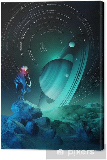 Wonder Exploration. A futuristic human exploring a strange planet system. 3D illustration. Canvas Print - Science