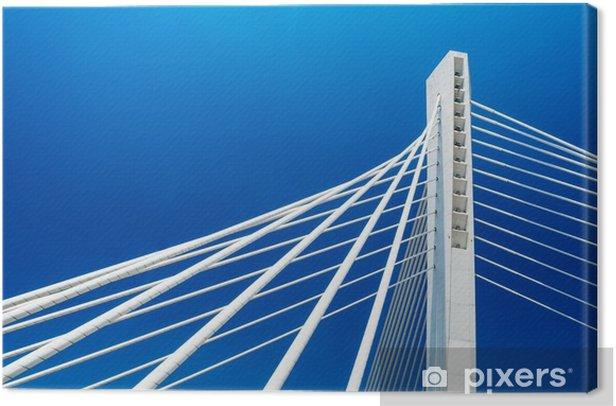 Wonderful white Millennium bridge structure over clear blue sky in Podgorica, Montenegro Canvas Print - Travel