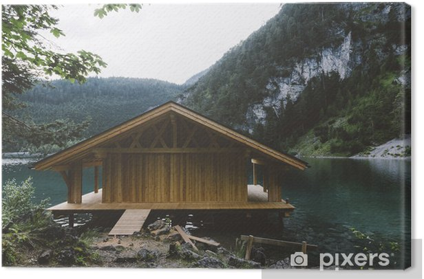 Wood house on lake with mountains and trees Canvas Print - Relaxation