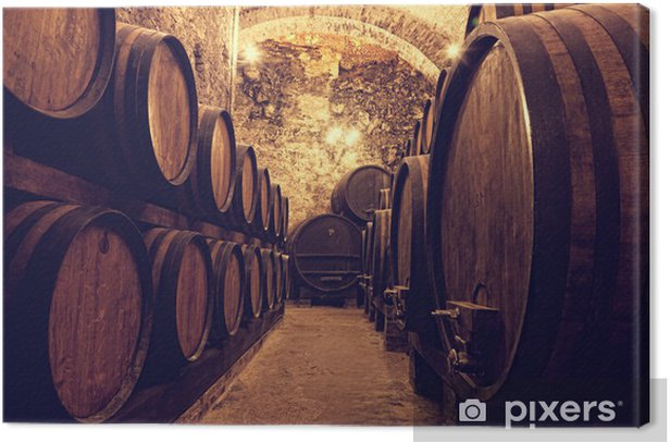 Wooden barrels with wine in a wine vault, Italy Canvas Print - Themes
