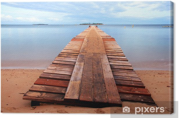 Wooden Harbour at New Caledonia Canvas Print - Water