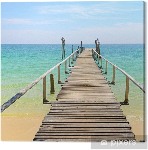 Wooden jetty on the sea Canvas Print - Themes