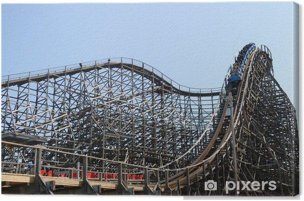 wooden roller coaster Canvas Print - Entertainment