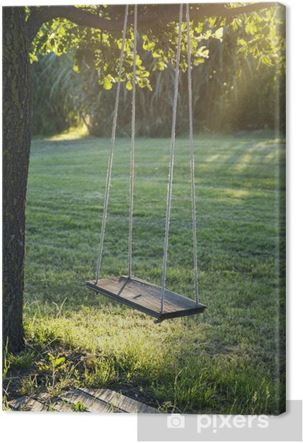 454665ea26 Wooden vintage garden swing Canvas Print • Pixers® • We live to change