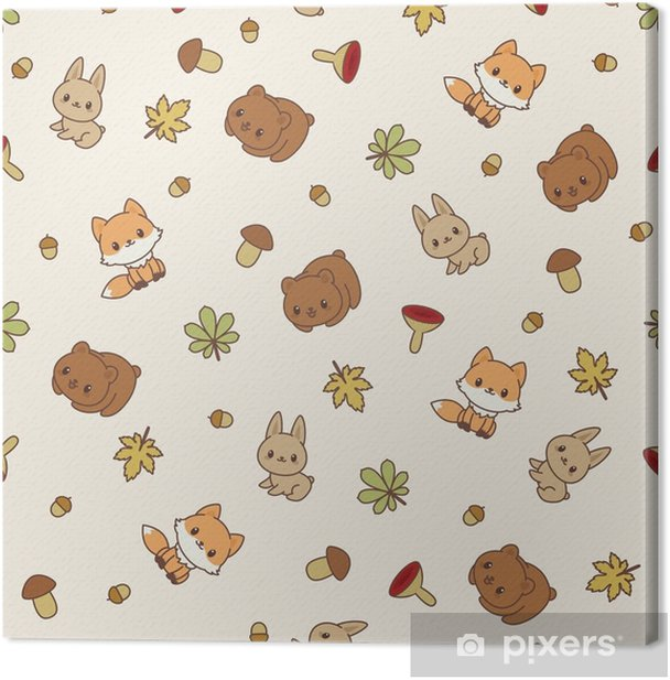 Woodland animals seamless vector pattern/wallpaper. Canvas Print