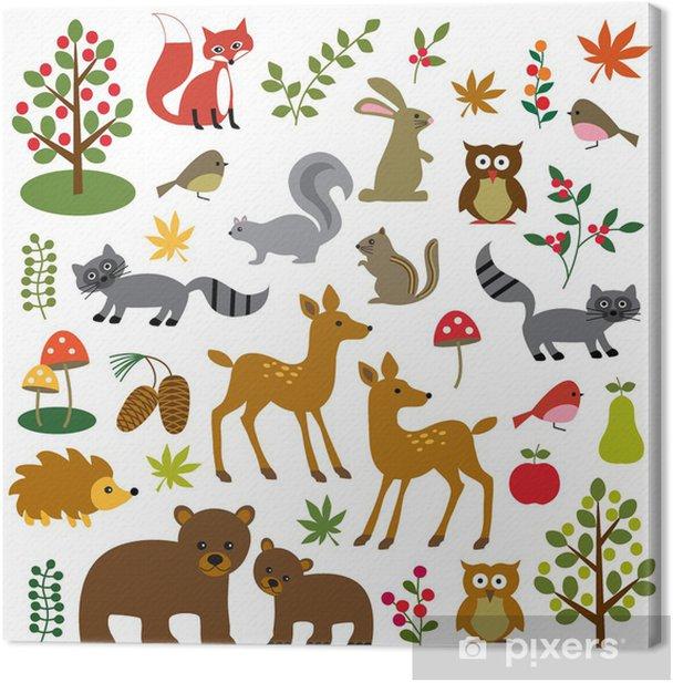 woodland wildlife clipart Canvas Print - Mammals