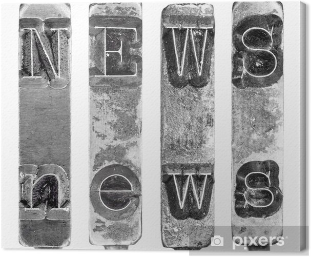 Word NEWS in Old Typewriter Typebar Letters Isolated on White Canvas Print