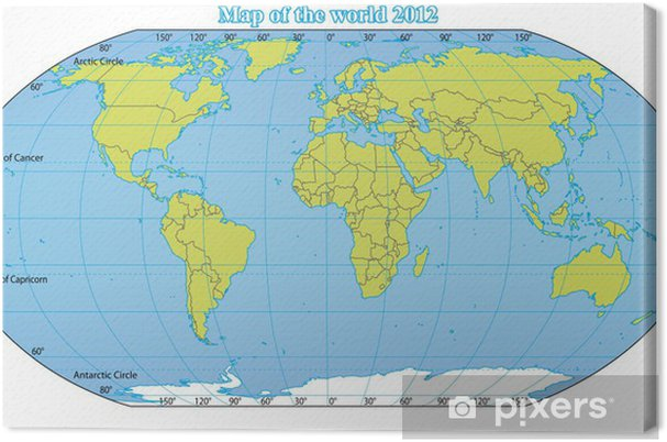 World Map 2012 Including New States Like South Sudan Canvas Print